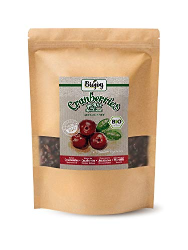 Biojoy Canneberges séchées BIO, sans sucre, douceur naturelle de fruits du jus de pomme dense (1 kg)