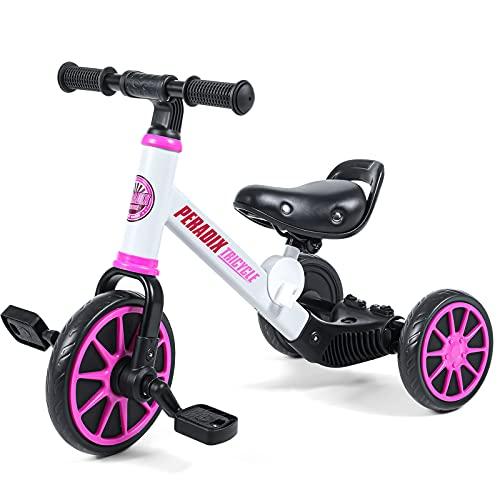 Peradix 3 en 1 Vélo Draisienne Tricycle pour Enfant 1-4 Ans,Premier Tricycle Evolutif pour Pédales Amovibles Jouet Educatif,Cadeau d'anniversaire Draisiennes Tricycle Evolutive pour Garçons Filles