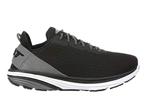 MBT Women's Gadi Black/Grey Lightweight Walking Shoe with Arch Support and Low Rocker Bottom Size 8