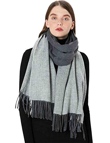 MaaMgic Schal Damen Winter aus Wolle + Kaschmir, Kaschmir Schal Damen Wollschal (Grau)