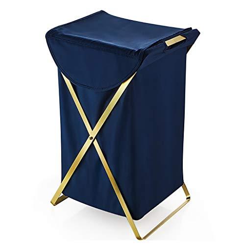 Wasmand Inklapbaar Wasserij Mand Katoen Doek Waskleding Kwekerij Speelgoed Opslag Bins Organizer - Blauw/Rond
