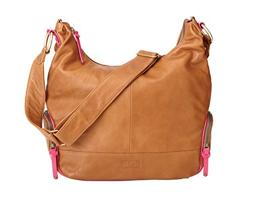 OiOi Leather Hobo Diaper Bag - Tan & Pink