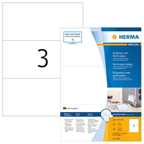 HERMA 4664 Etiketten mit perforierten Trennlinien DIN A4 (210 x 99 mm, 100 Blatt, Papier, matt) selbstklebend, bedruckbar, permanent haftende Etiketten mit Klebestreifen, 300 Klebeetiketten, weiß