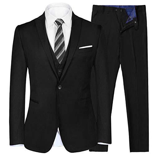 iClosam heren pak 3-delig Regular Fit Business herenpak smoking met vest jas en broek