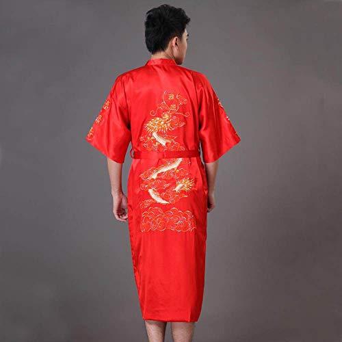 WSKWEIJ Bademantel,Rot Ebroidery Dragon Robe Traditiona Ae Eepwear Ounge Nachtwäsche...