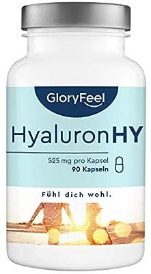 Hyaluronsäure Kapseln Hochdosiert: 525mg - 90 vegane Kapseln (3 Monate) - 500-700 kDa Molekülgröße - Laborgeprüft hochdosiert ohne Zusätze hergestellt in Deutschland