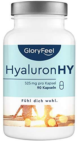 Hyaluronsäure Kapseln - 525mg Hochdosiert - 90 vegane Kapseln (3 Monate) - 500-700 kDa Molekülgröße - Laborgeprüft hochdosiert ohne Zusätze hergestellt in Deutschland
