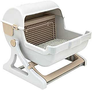 Le you pet semi-automatic quick cleaning cat litter box, Luxury cat toilet(white / milk brown)