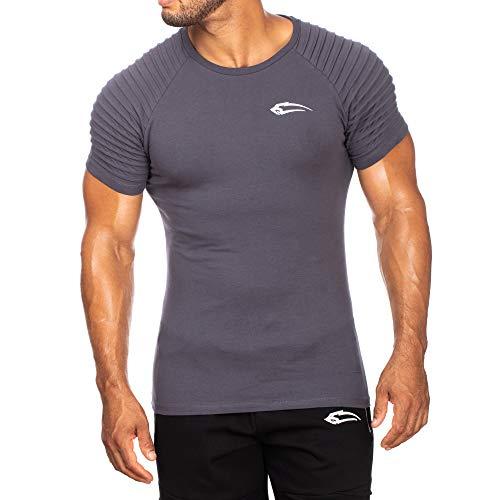 SMILODOX Herren T-Shirt Ripplez | Kurzarm | Casual Top | Funktionsshirt für Sport Fitness Gym & Training | Trainingsshirt - Laufshirt - Sportshirt mit Logo, Farbe:Anthrazit, Größe:M