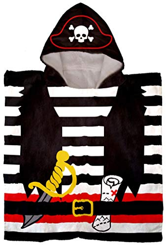 Jay Franco Trend Collector Pirate Bath/Pool/Beach Hooded Poncho Towel - Super Soft & Absorbent Cotton Towel, Measures 22 Inch x 22 Inch