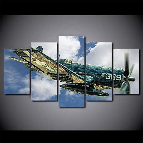 Laimi Bilder 5 Teilig Leinwandbilder Flugzeuge Luftfahrt Jet Flugzeug fliegen Bild auf Leinwand Wandbild Kunstdruck Wanddeko Wand Wohnzimmer Wanddekoration Deko Panorama Stadt Mit Holzrahmen