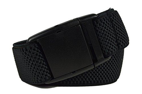 Olata Cinturón Elástico para Hombres/Mujeres con Hebilla Plastico, totalmente ajustable. Negro
