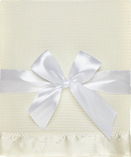 Thermal Waffle Weave Baby Blanket with Satin Nylon Trim (Ivory)