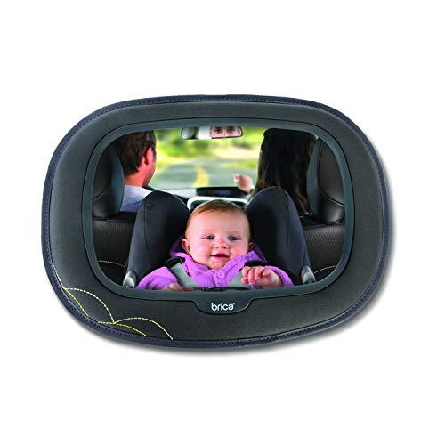 Brica by Munchkin Miroir Auto Bébé à Vue Dégagée Baby In-Sight Extra-Large, reflet supérieur et grand angle de vue de bébé