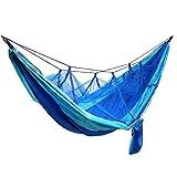 AIOFOGXC Camping Ultraligero Hamg Mock Beach Bed Hamaca con mosquiteras Redes para la Supervivencia o Viaje de mochileros al Aire Libre (Color : Blue)