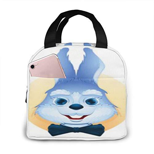 BONRI Avatar Portrait Cute Blue Bunny Bolsa de almuerzo con aislamiento portátil Bolsa de almuerzo con aislamiento reutilizable, lonchera portátil, bolsa de almuerzo, bolsa de almacenamiento