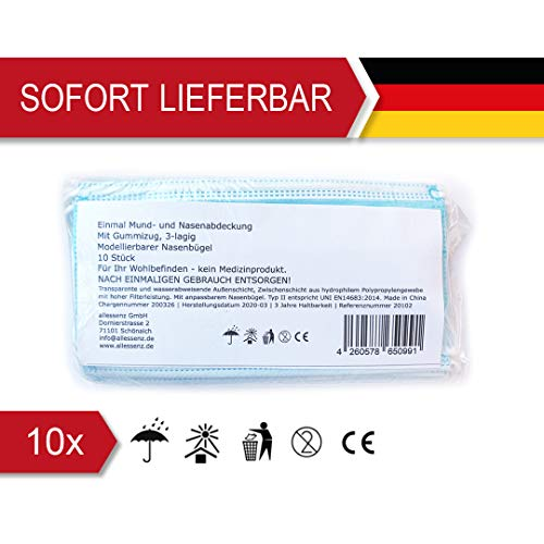 Gesichtsschutzmaterial Einweg-Staubschutzmittel Keimgesichtsgesichtsverdrahtung Mundschutz - 10 STK