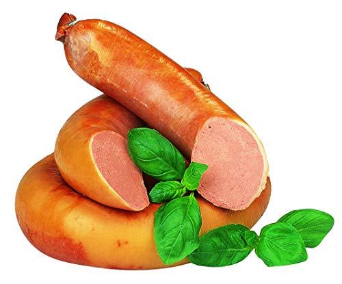 Food-United Streichwurst 500g fein zerkleinert im Ring geraucht aus 56 % Schweinefleisch mit leicht süßlichem Geschmack mit Sahne und Honig verfeinert essbarer Naturdarm Rinderkranz Kochwurst