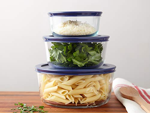 Pyrex Simply Store Meal Prep Glass Food Storage Containers (6-Piece Set, BPA Free Lids, Oven Safe)