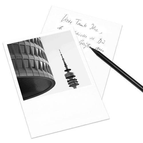 10er-Set Postkarte München im Polaroid-Look - DIN A6 Hochformat - Motiv: BMW-Vierzylinder