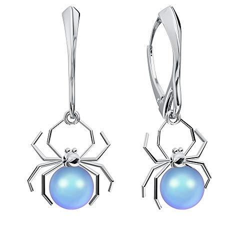 **Beforya Paris** Ohrringe 925 Silber *SPINNE* - Viele Farben - Ohrringe mit Perlen von Swarovski Elements Schön Damen Silber Ohrhänger mit Perlen - Schmuck mit Geschenkbox PIN/75 (Light Blue)