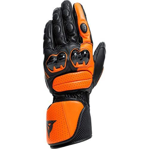 Dainese Guantes largos para motocicleta, guantes Impeto negro/naranja, XXL, para hombre, deportistas, todo el año, piel