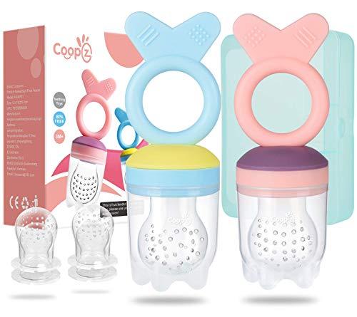 Coopzero Baby-Futterspender / Obst-Futterspender (2 Stück), für frische Lebensmittel, Spielzeug für Kleinkinder und Kinder (Silikondesign), BPA-frei