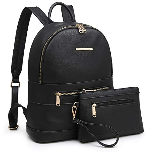 Dasein Womens Backpack Purse Casual Travel School Daypack with Matching Wristlet 2Pcs Set (7299-Black)