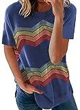 Aleumdr Camiseta de manga corta para mujer, camiseta básica, cuello redondo, camiseta suelta, camiseta de verano de manga corta, informal, blusa C azul. XXL