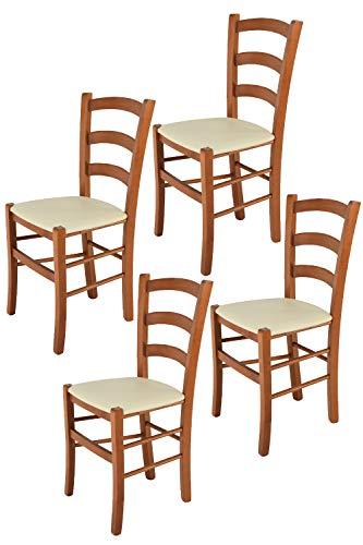 Tommychairs - Set 4 sillas Venice para Cocina y Comedor, Estructura en Madera de Haya Color Cerezo y