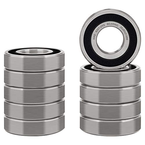 XiKe 10 Pcs 6307-2RS Double Rubber Seal Bearings 35x80x21mm, Pre-Lubricated and Stable Performance and Cost Effective, Deep Groove Ball Bearings.
