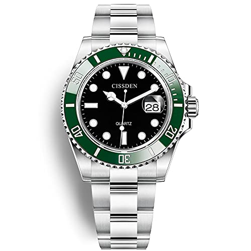 Relojes de cuarzo de moda de los hombres de acero inoxidable a prueba de agua fecha analógico de negocios casual relojes, Verde, negro,