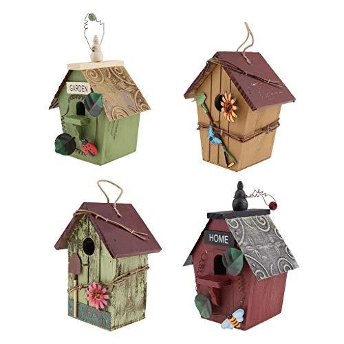perfeclan 4 Stücke Vogelhäuschen Holz Vogelhaus zum Aufhängen und Bemalen Gartendeko Hängedeko Nisthöhle Nistkasten für Papagei