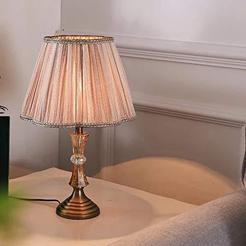 FHUA Lámpara Escritorio Lámpara de Tela Caliente American Country Dormitorio Lámpara de Noche Amarillo Luz de Ojo Protección de Ojos Caliente Lámpara de Mesa