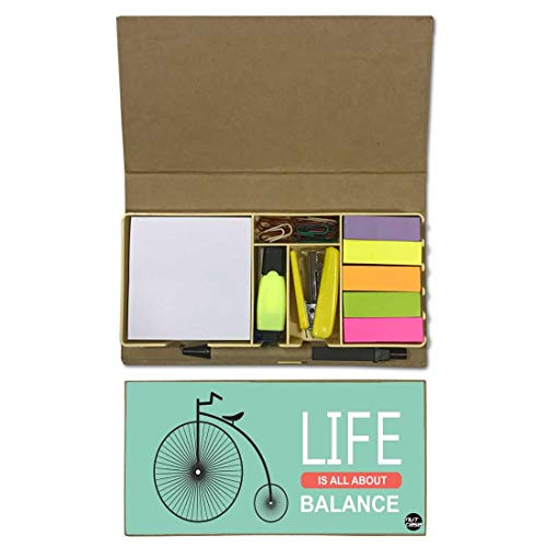 Nutcaseshop Designer Stationary Kit Desk Customised Organizer Memo Notepad - Office Décor - Gifts for Coworkers - Life is All About Balance