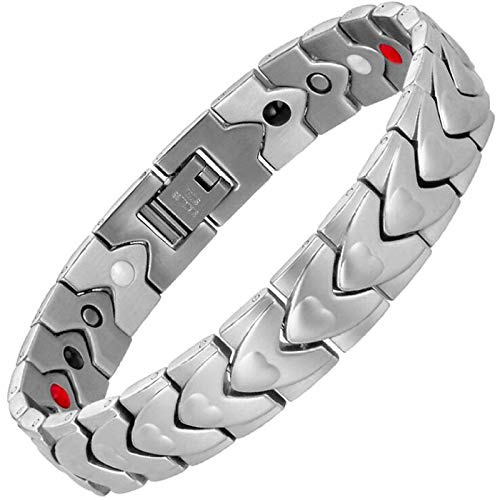 HAIHF Armbanden voor Mannen, Magnetische Therapie Armbanden Pijnverlichting voor Artritis en Carpale Tunnel met Gratis Link Verwijder Gereedschap & Witte Sieraden Doos, Zilver