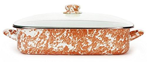 Golden Rabbit Enamelware Orange Swirl Pattern 16 x 125 x 4 Inch Lasagna Pan Set