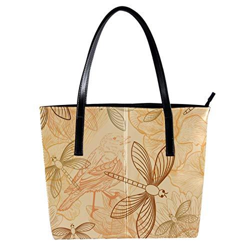 LORVIES Retro Dragonfly Parrot Sunflower Paint Schultertasche PU Leder und Handtaschen für Damen