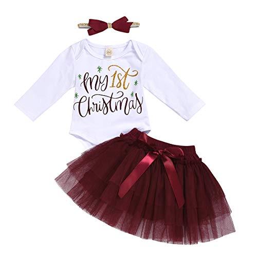 My First Christmas Skirt Sets Long Sleeve Romper Bodysuit Tutu Headband 3pcs Outfits (White+Burgundy, 6-12 Months)
