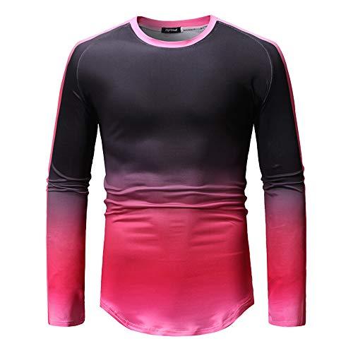 ZYUD Herren Langarm T-Shirt Patchwork schmale Bodybuilding Herren Longshirt Langarm...