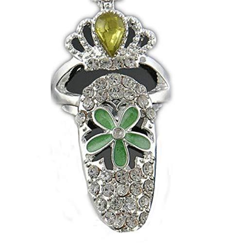 Winwinfly Frauen Bowknot Nagel Ring Charme Krone Blume Harz Strass Fingernagel Ringe Schmuck,#3