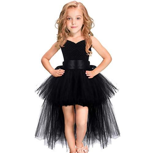 HJTT Tutu Dress for Girls Black Train V-Neck Tulle Evening Wedding Birthday Party Dresses Kids Ball Gown (Black, 1-2T)