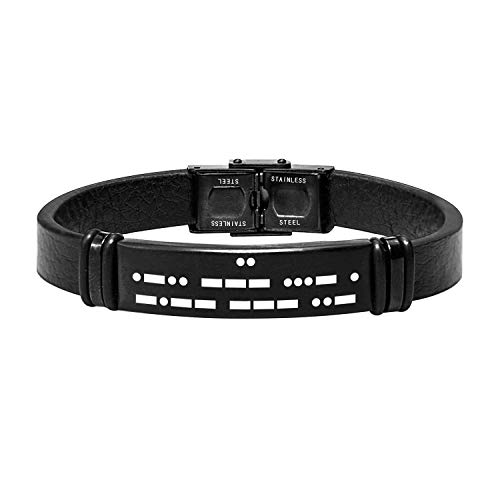 Passen Sie Morse-Code Leder und Silikon-Armband für Männer Secret Code Gravur Armband für Freund Bruder Vater Ehemann Pate versteckte Nachricht Armband (Leder Stil Eins)