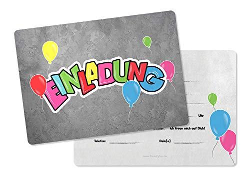 Friendly Fox Einladung Graffiti Ballons - 12 Graffiti Einladungskarten zum Kinder-Geburtstag - Einladung Party Graffiti Style - Coole Einladung