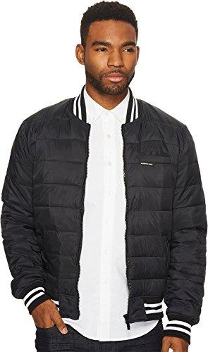 Members Only Men's Down Blend Varsity Puffer Jacket (Large, Jet Black)
