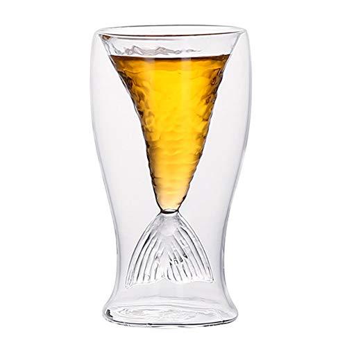 AMAZOM Vaso De Sirena, Vaso De 3.4 Oz, Creativo Copa De Vino con Cola De Sirena, Regalo para Mujeres, Vasos Divertidos para Beber para Jugo, Cerveza, Whisky, Cóctel, Copas De Vino Tinto De Sirena,A