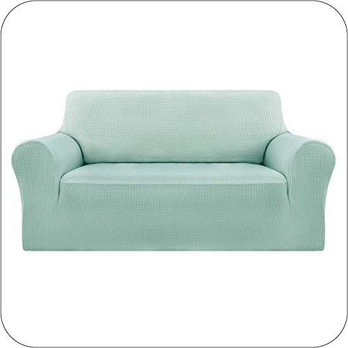 UMI by Amazon Funda Sofa Suave Elastica de Color Liso 2 Plazas Verde Claro