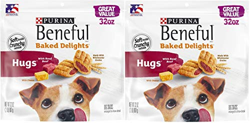 Purina Beneful Made in USA Facilities Dog Treats, Baked Delights Hugs with Real Beef & Cheese - 32 oz. Pouch (32 OZ (2 Pack))