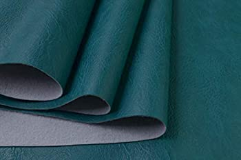 Wento Thick 1 Yard Faux Leather Fabric Soft Skin Grain PU Leather Fabric for Furniture Cover Reupholster Sofa Chairs Cushiones Vinyl Upholstery Fabric  1yard,Peacock Green