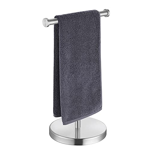 KES Towel Rack T-Shape Hand Towel Holder Stand Total Height 17' SUS304 Stainless Steel for Bathroom Vanity Countertop Brushed Finish, BTH208S20-2